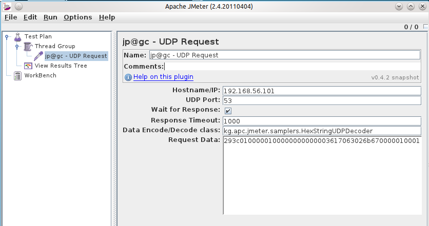 UDP Request HEX request settings